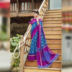 Royal Blue Linen Jute Silk Saree - MPP1133