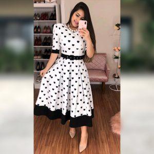 White Stretchable Imported Short Dress - MPP1130