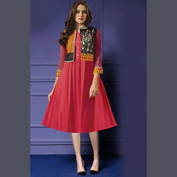 Pink Rayon Short Dress-MPP1151