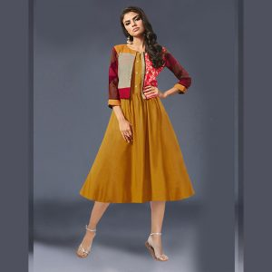 Mustard Rayon Short Dress -MPP1151