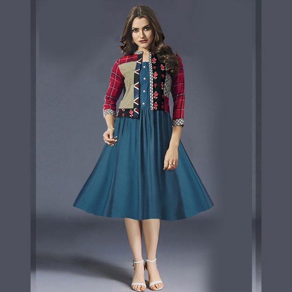 RoyalBlue Rayon Short Dress -MPP1151