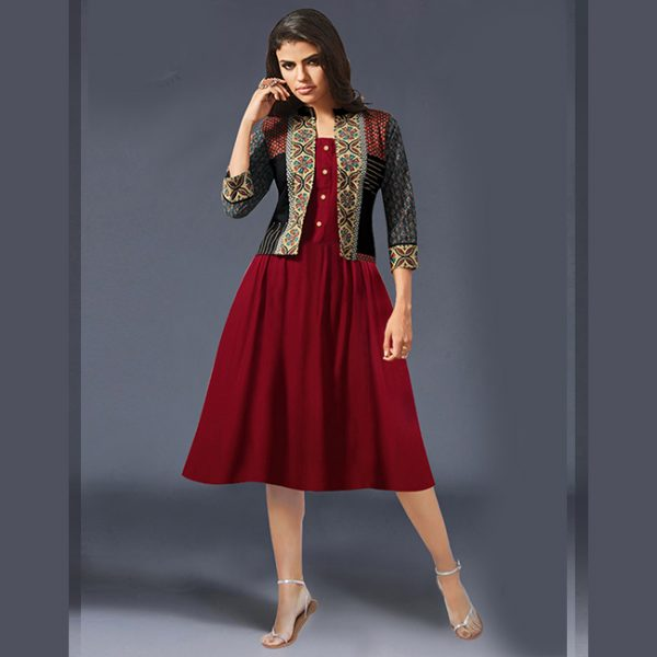 Red Rayon Short Dress -MPP1151