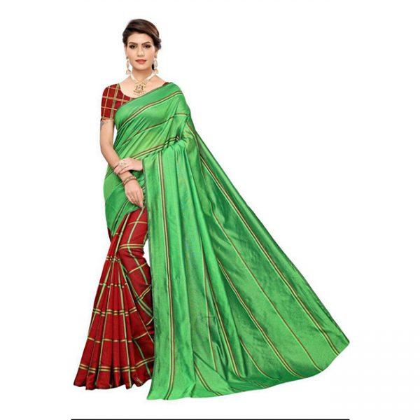 MPP1166 Green Cotton Silk Saree