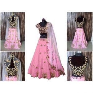 Pink Malburi Embroidered Lehenga-MPP1170