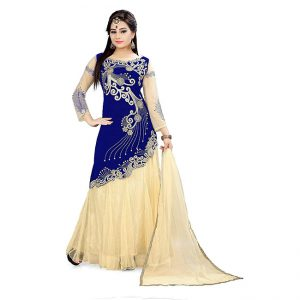 Blue Semi Stitched Net Lehenga - CZ1003