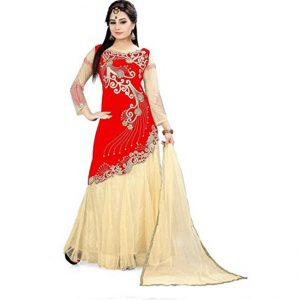 Red Semi Stitched Net Lehenga - CZ1003