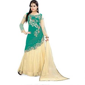 Green Semi Stitched Net Lehenga - CZ1003