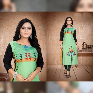 CC-11 Light Green Cotton Crepe Kurti - CZ1005