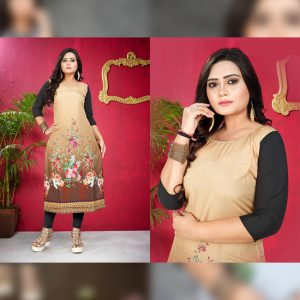 CC-16 Brown Cotton Crepe Kurti - CZ1005