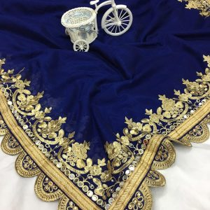 Vichitra Silk Embroidered Saree - FB4150 | Blue