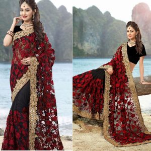 Net Embroidered Saree - MPP1285 | Black