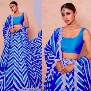 Taffeta Silk Semi Stitch Lehanga Choli- FG2490 | Blue