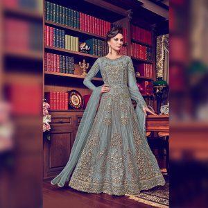 Vaishnavi Net Embroidered Gown - FG4188 | Blue