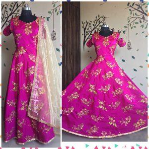Taffeta Silk Gown - FG2483   Pink