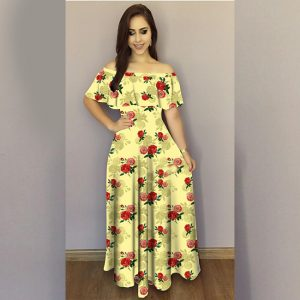 Printed Crepe Gown - FG2489   Yellow   CC-10
