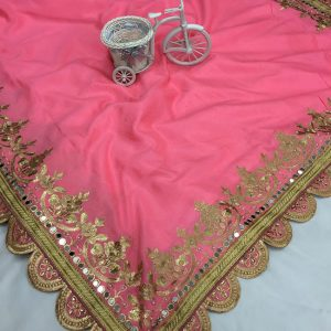 Vichitra Silk Embroidered Saree - FB4150   Pink