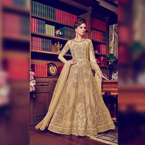Vaishnavi Net Embroidered Gown - FG4188 | Golden