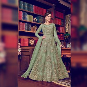 Vaishnavi Net Embroidered Gown - FG4188 | Sea Green