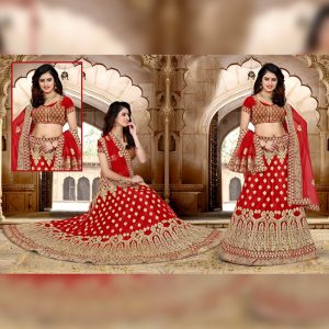 Net Embroidered Lehanga Banglori Blouse - FB4200 | Red