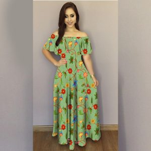 Printed Crepe Gown - FG2489   Green   CC-09