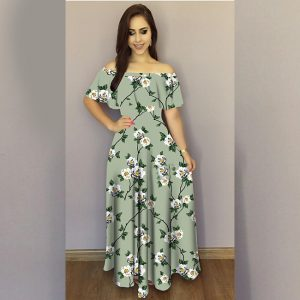 Printed Crepe Gown - FG2489   Gray   CC-04