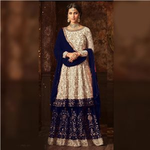 Semi Stitched Embroidered Georgette Dress - FB4202 | Navy