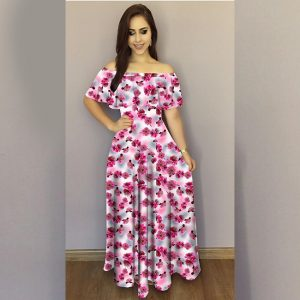 Printed Crepe Gown - FG2489   Purple   CC-06
