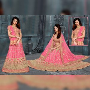 Net Embroidered Lehanga Banglori Blouse - FB4200 | Pink