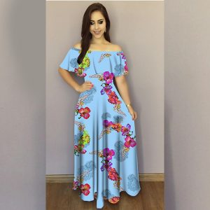 Printed Crepe Gown - FG2489   Blue   CC-05
