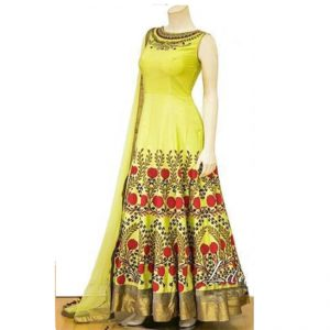 Silk Anarkali Gown - FG2448 | Yellow