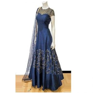 Silk Anarkali Gown - FG2448 | Blue
