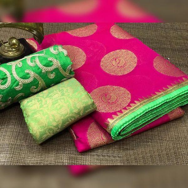 Chanderi Saree jaquard Blouse - FB4130 | Pink | CC-25