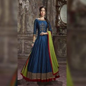 Phantom Silk Anarkali Gown - FG2448 | Navy Blue