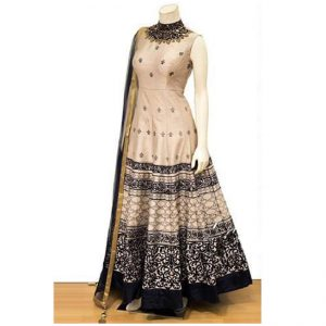 Phantom Silk Anarkali Gown - FG2448 | Beige