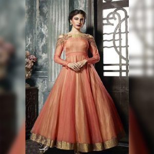 Nura Silk Anarkali Gown- FG2448 | Peach