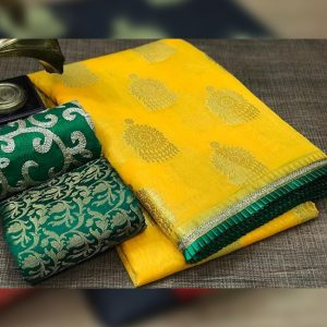 Chanderi Saree jaquard Blouse - FB4130   Yellow   CC-01