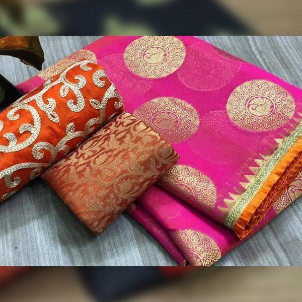 Chanderi Saree jaquard Blouse - FB4130   Pink   CC-20