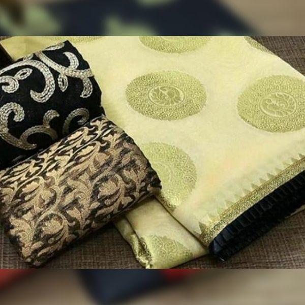 Chanderi Saree jaquard Blouse - FB4130 | Off White | CC-22