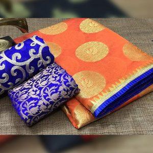 Chanderi Saree jaquard Blouse - FB4130   Orange   CC-23