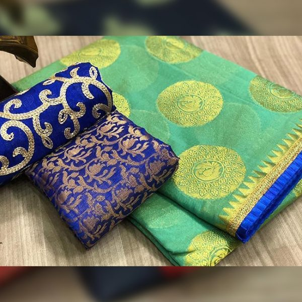 Chanderi Saree jaquard Blouse - FB4130 | Green | CC-24