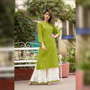 Embroidered Rayon Kurti Palazzo – FB4160 | Green
