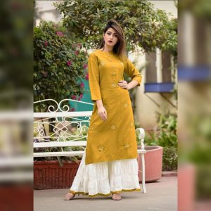Embroidered Rayon Kurti Palazzo – FB4160 | Yellow