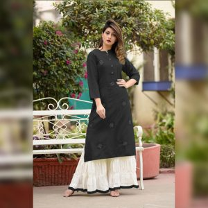 Embroidered Rayon Kurti Palazzo – FB4160 | Black