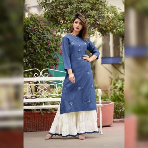 Embroidered Rayon Kurti Palazzo – FB4160 | Blue