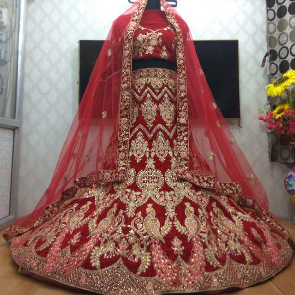 Bridal Embroidery Lehenga Choli - FB4181 |Red