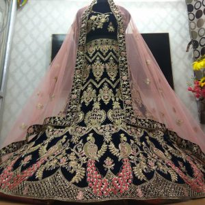 Bridal Embroidery Lehenga Choli - FB4181 |Black