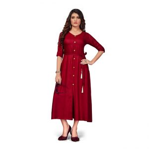 Rayon Short Dress - FG2447 | Red