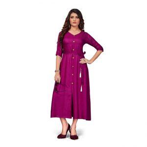 Rayon Short Dress - FG2447 | Magenta
