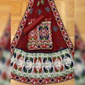 Satin Jam Cotton Dress Material - FB4185 | Maroon