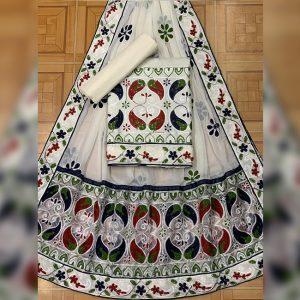 Satin Jam Cotton Dress Material - FB4185 | White